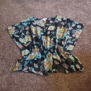 Ambiance apparel semi sheer floral flowy blouse